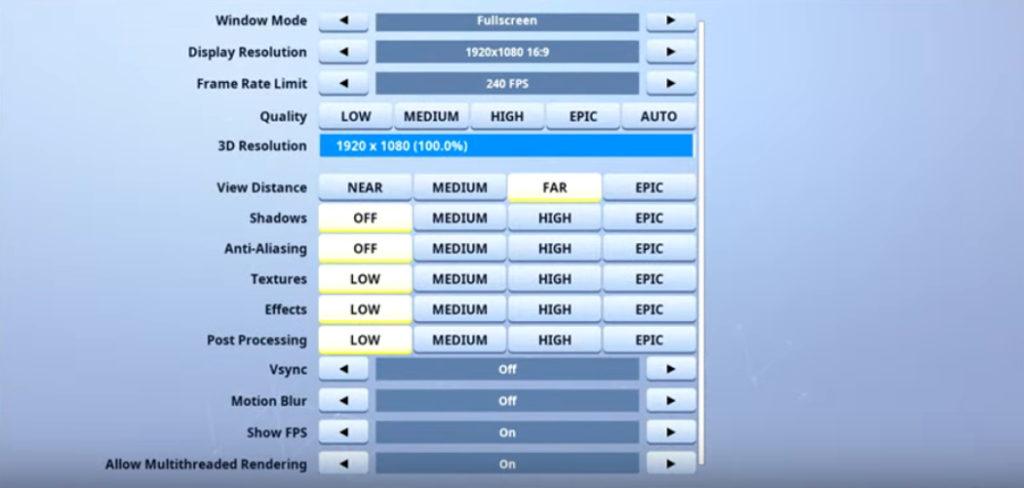 Ninja Fortnite Video settings