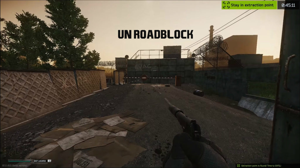 UN roadblock - EFT woods map extraction point