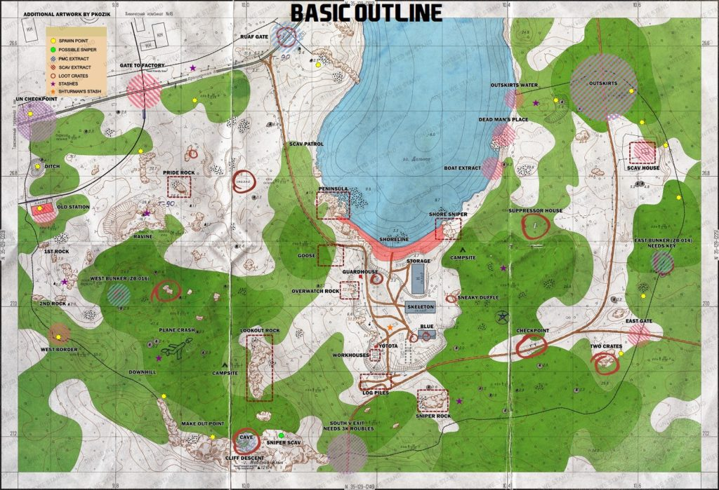 woods map escape from tarkov detailed spawn, loot and extraction points