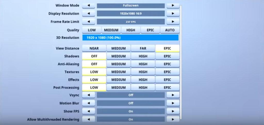 Benjyfishy Fortnite Video settings