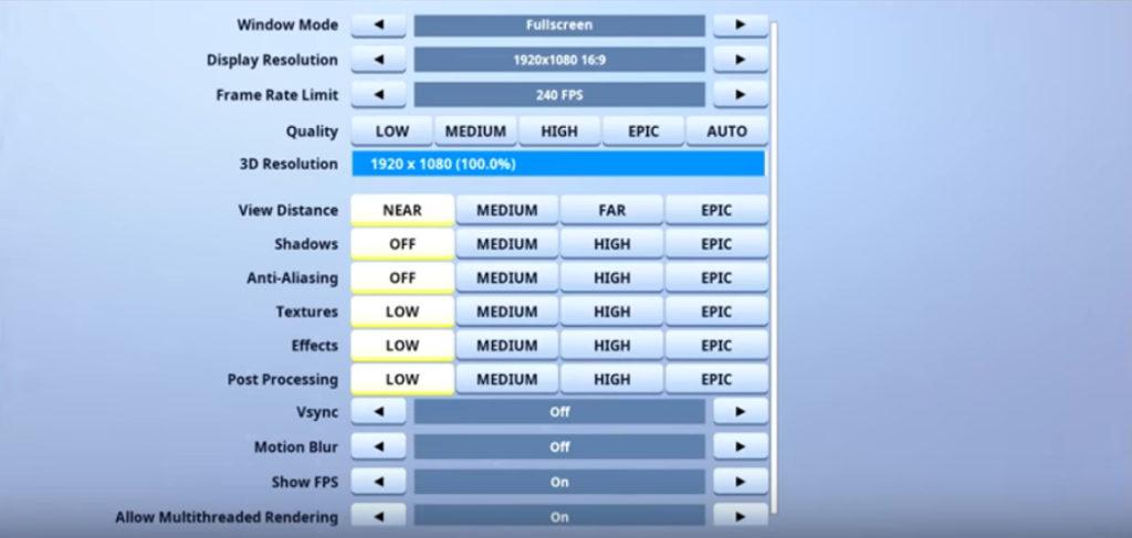 Cloak Fortnite Video settings