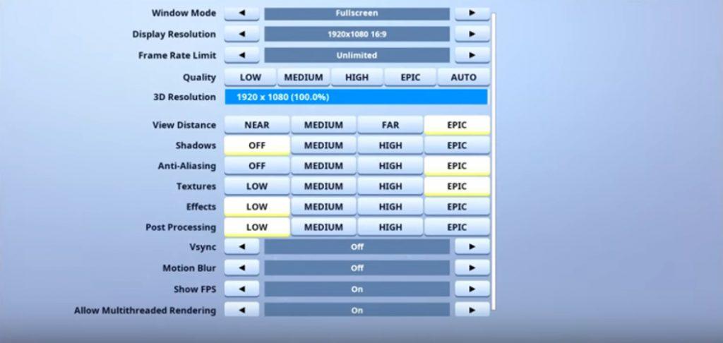 HighDistortion Fortnite Video settings