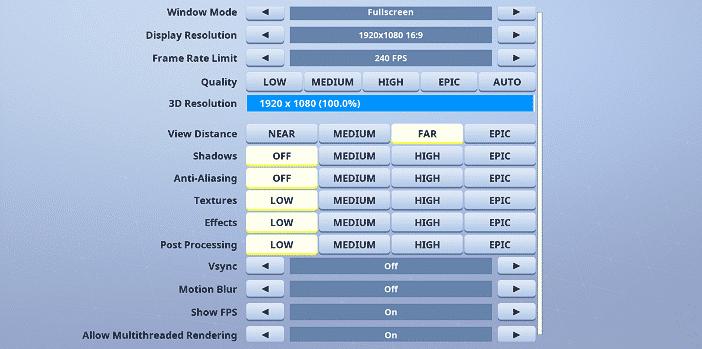 Keolys Fortnite Video settings