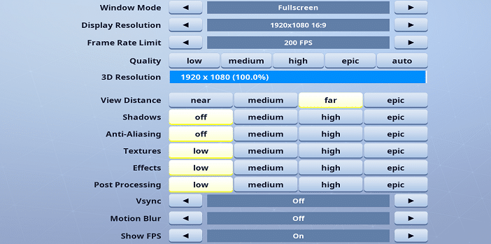 Khuna Fortnite Video settings
