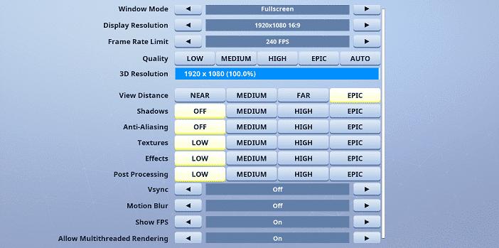 Magin Fortnite Video settings