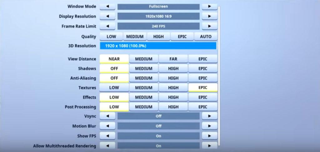 Mitr0 Fortnite Video settings