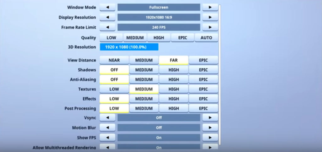 Poach Fortnite Video settings