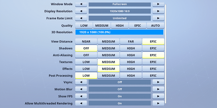 TSM Myth Fortnite Video settings