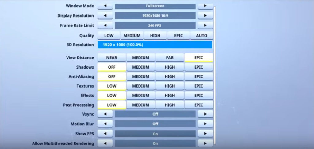 Dubs Fortnite Video settings