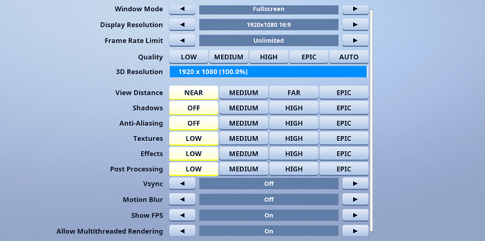 F1veskill Fortnite Video settings