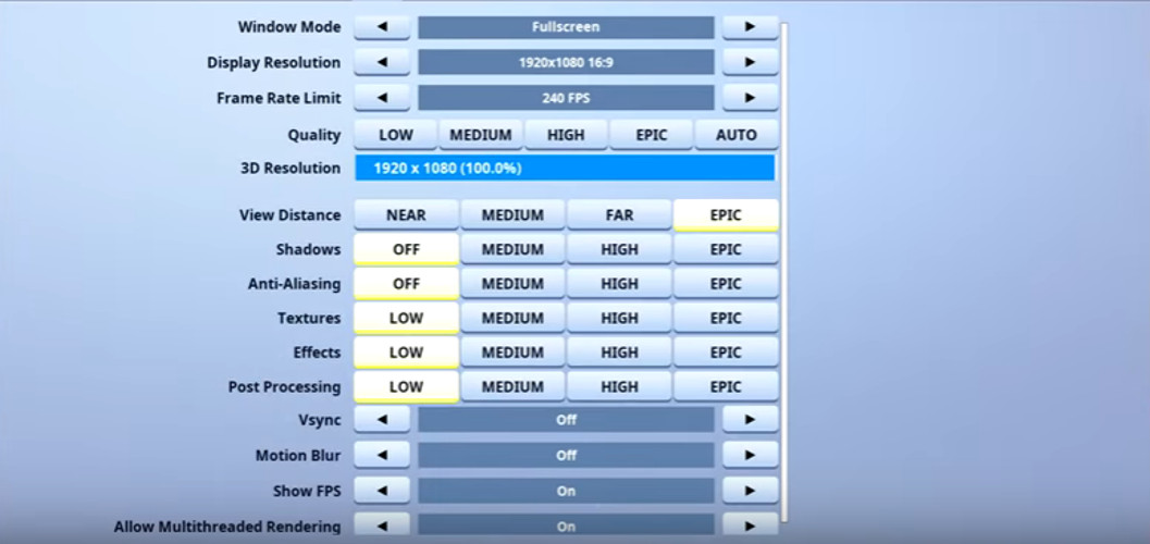 Assault Fortnite Video settings