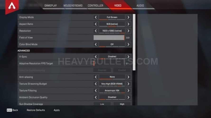 Diego Apex Legends Video settings