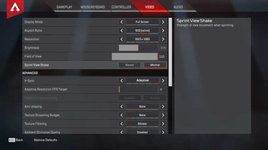 Dizzy Apex Legends Video settings