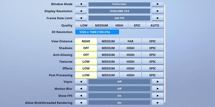 Fiber Fortnite Video settings