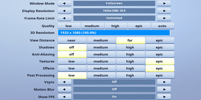 Funk Fortnite Video settings