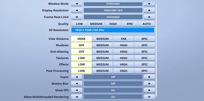 Letshe Fortnite Video settings
