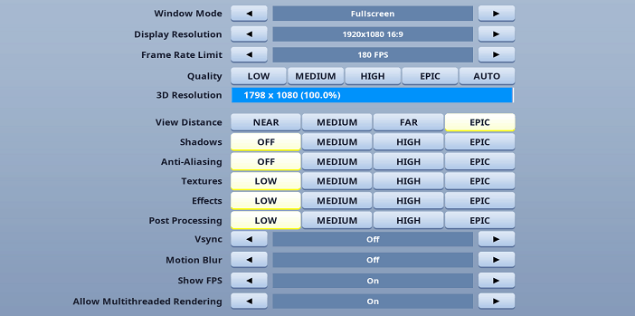 Martoz Fortnite Video settings