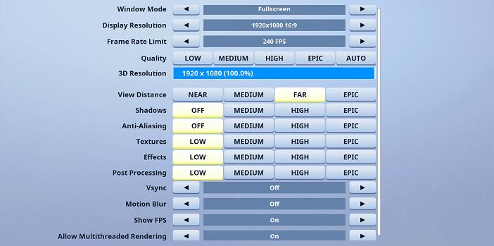 Morgausse Fortnite Video settings
