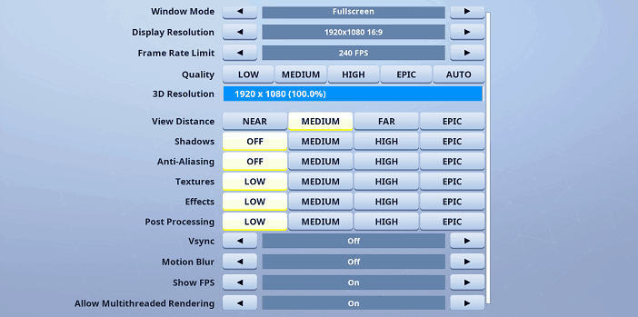 Motor Fortnite Video settings