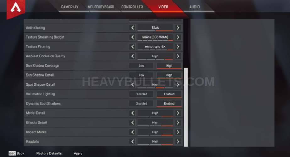 Ninja Apex Legends Video settings