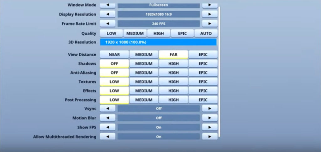 Nyhrox Fortnite Video settings