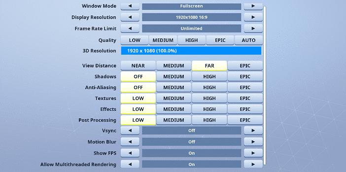 Osmo Fortnite Video settings
