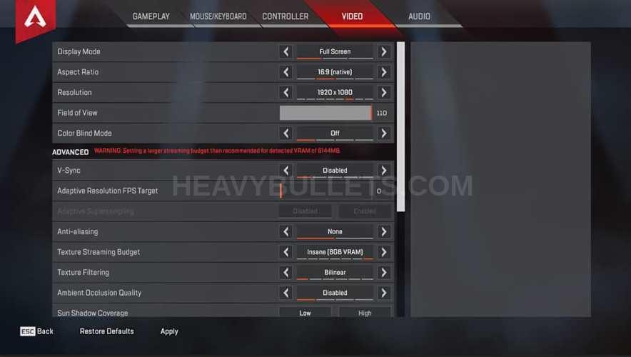 Phantasy Apex Legends Video settings