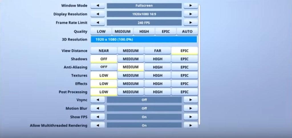 Reverse2k Fortnite Video settings