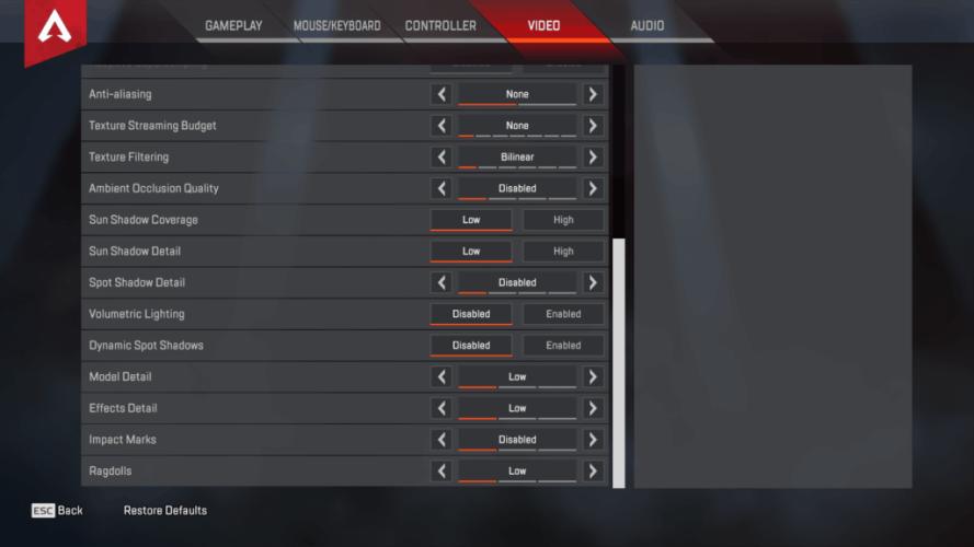 Shroud Apex Legends Video settings