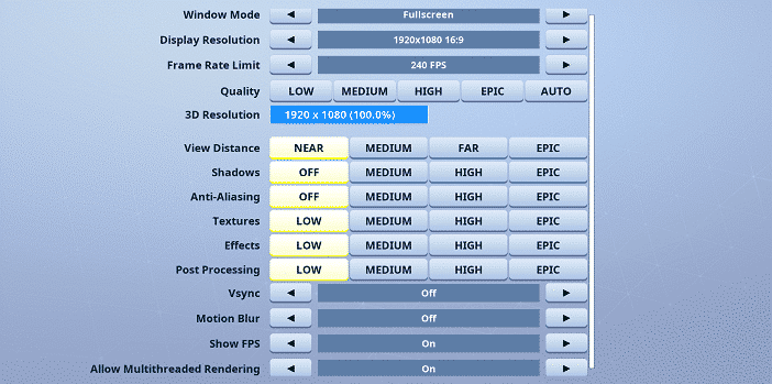Stompy Fortnite Video settings