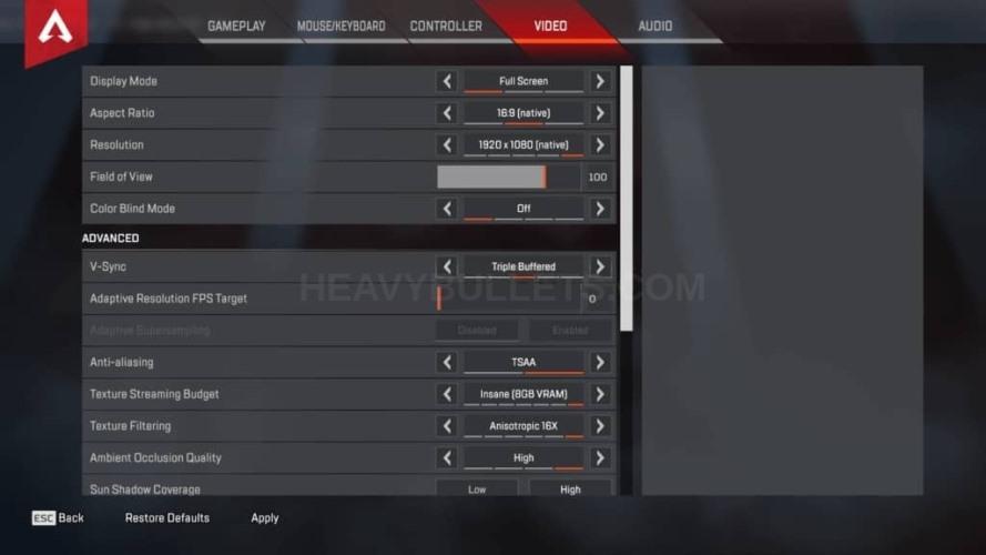 TimTheTatman Apex Legends Video settings