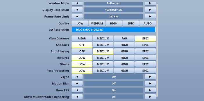 Zayt Fortnite Video settings