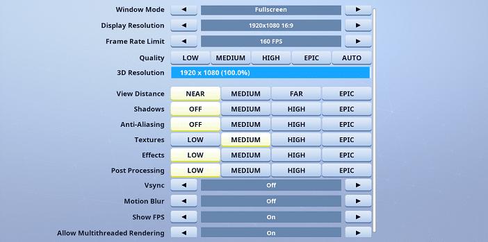 Aqua Fortnite Video settings