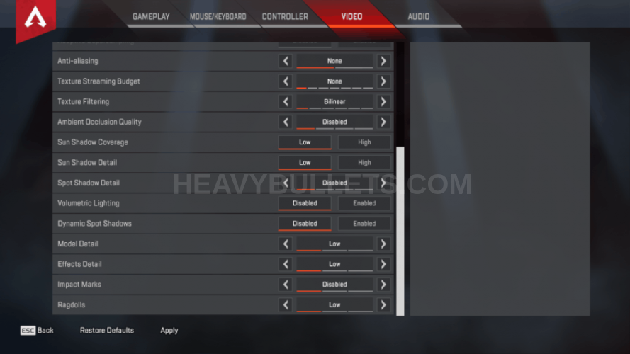 CouRage Apex Legends Video settings
