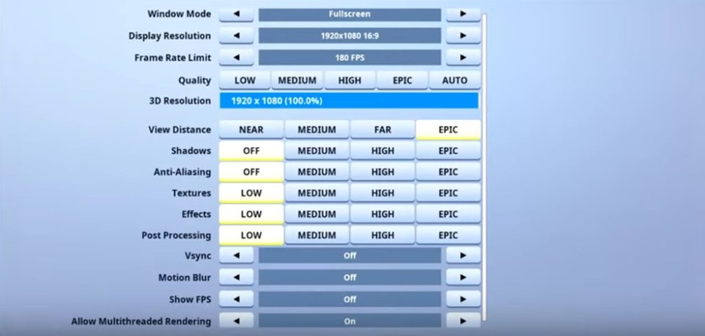 Megga Fortnite Video settings