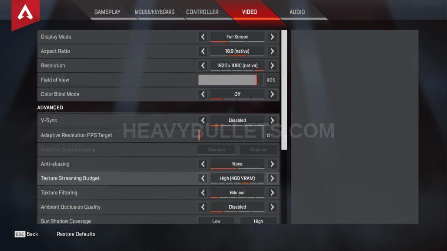 Tfue Apex Legends Video settings
