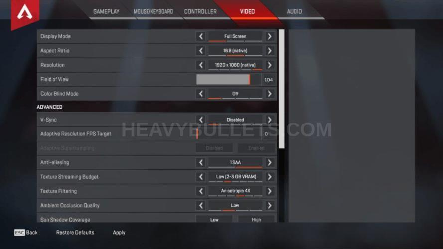 BreaK Apex Legends Video settings