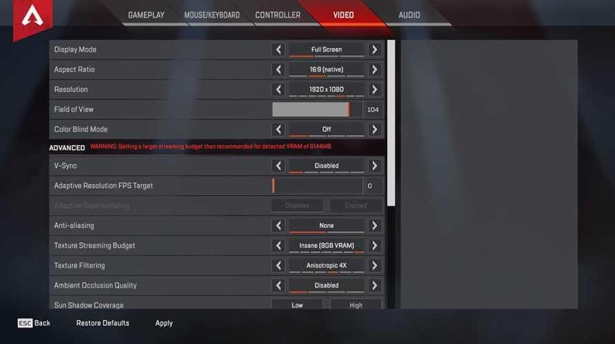 Gotaga Apex Legends Video settings