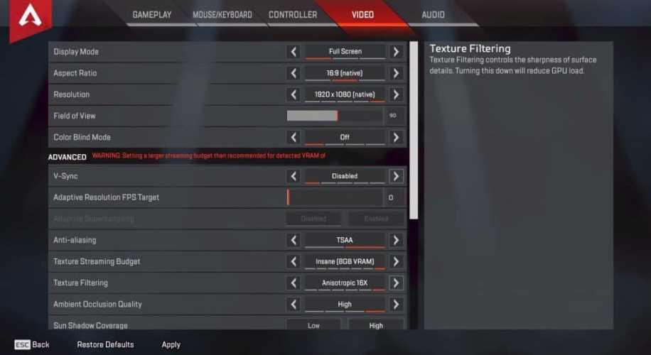 HighDistortion Apex Legends Video settings