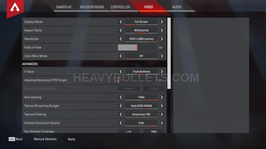 Just9n Apex Legends Video settings