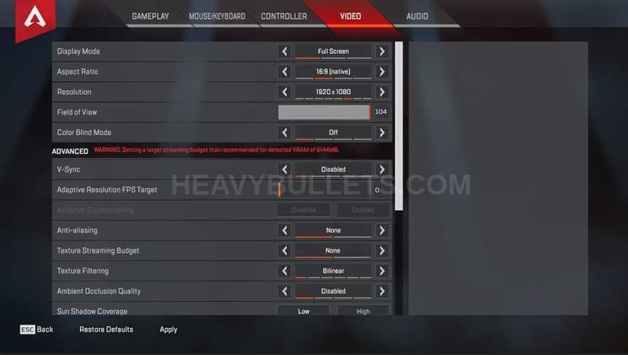 Nesh Apex Legends Video settings