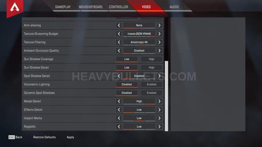 Networkz Apex Legends Video settings