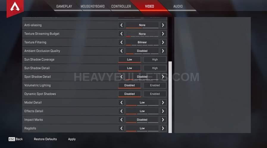 Oraxe Apex Legends Video settings