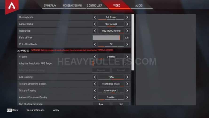 RealKraftyy Apex Legends Video settings