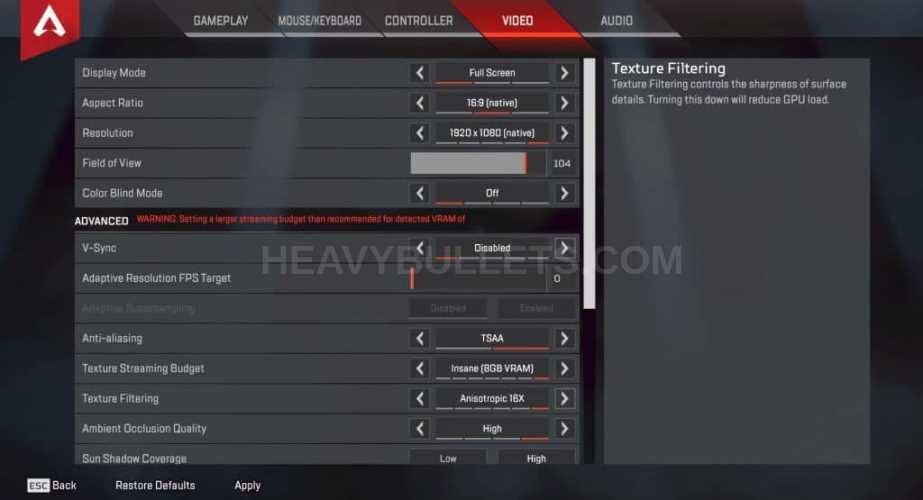 Reaver Apex Legends Video settings