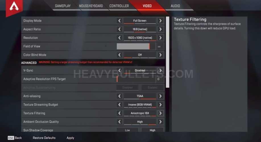 VSNZ Apex Legends Video settings