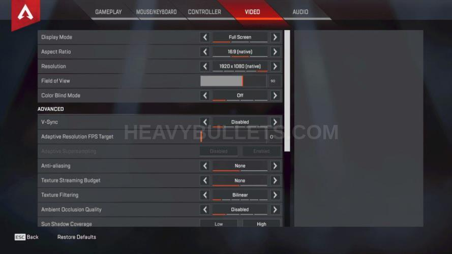 WACKO Apex Legends Video settings
