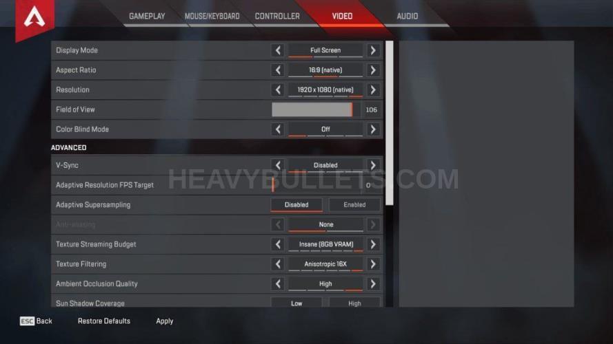xQc Apex Legends Video settings