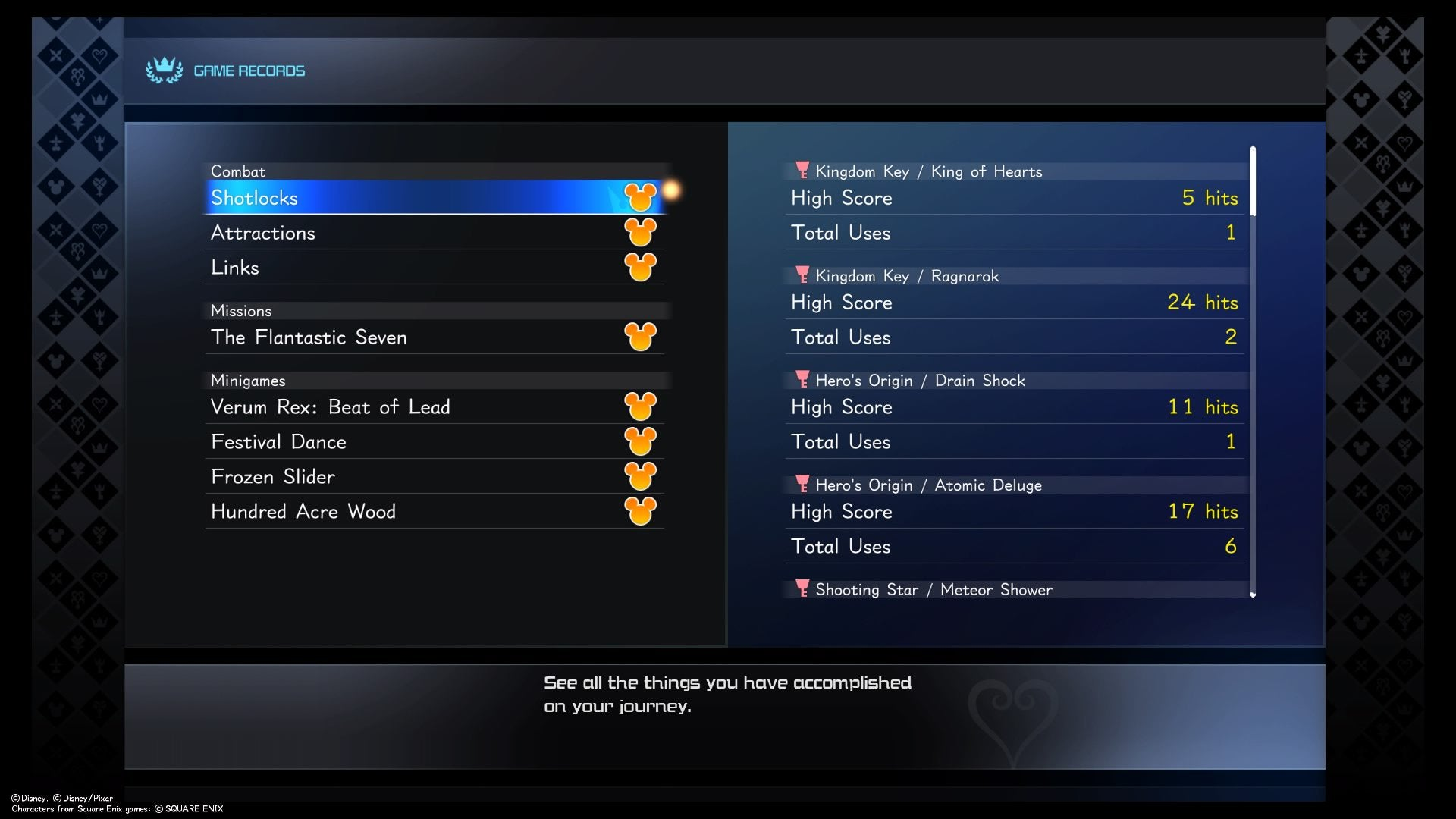 Kingdom Heart 3 Game Records