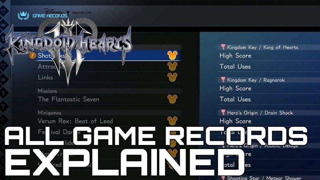 kingdom hearts 3 all game records